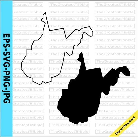 west virginia state map eps svg png jpg vector graphic clip art west virginia state outline west virginia silhouette from thegreatesttribble on etsy studio