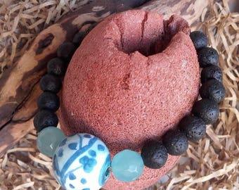 Blue ceramic bracelet and lava