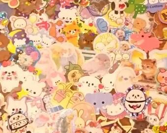 200 STICKER Flakes: As Shown,  from 35+ sticker sacks a custom assortment/ as shown/ Sanrio/Kamio/ Scrapbook/Planner embellish lot kawaii