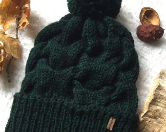 Chunky hand knitted beanie - in pure wool and Alpaca with wool pom pom