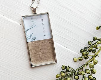 """Handmade """"Grace"""" faux marble and leather rectangle pendant - marble necklace, leather jewelry, rectangle pendant"""