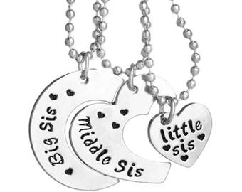 New Hand Stamped Big Sis, Middle Sis, Little Sis .925 Silver Necklace Set
