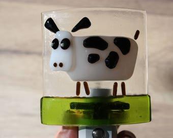 Fused Glass Cow Night Light