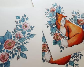 Art print 30cm × 40cm rosehip, fox, watercolor