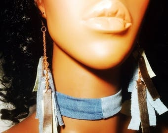Leather and Denim Earrings