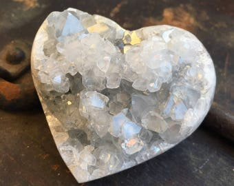 Pale Blue Celestite Heart