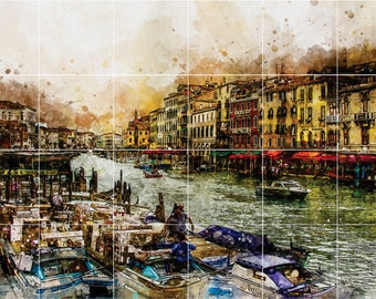 Gorgeous Tile Mural of Venice on the water