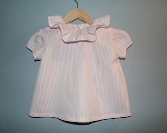 Baby girl short sleeve frill collar blouse