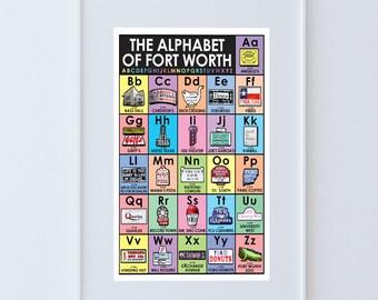 Fort Worth Texas Alphabet Print -  Texas gift, Best Gift 2017, Texas Kid Gift, Alphabet of Fort Worth, Texas art, Fort Worth art, Word Art