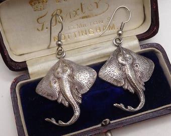 Vintage Silver Plated Skate Fish dropper Earrings Unusual