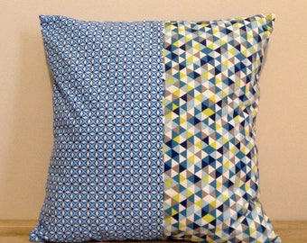 Cushion cover 40 x 40, cotton, shades of blue