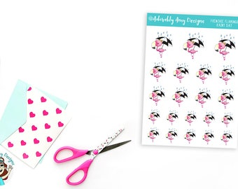 Frenchie Flamingo Rainy Day Umbrella Stickers for Erin Condren, Plum Planner, Inkwell Press, Kikki K or Any Size Planners