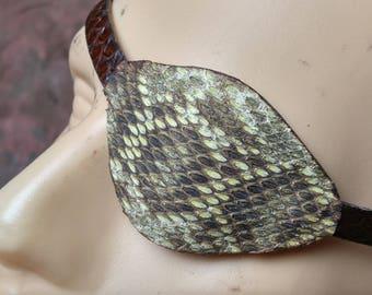 Leather Eyepatch -- Rattlesnake -- Pirate Eye Patch -- Post Apocalyptic  Wasteland Steampunk   --  USA Made.