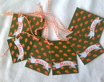 "6 pumpkin ""Merci"" tags"