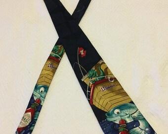 Vintage Tabasco Fishing Alligator Silk Necktie