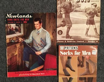 Vintage Mens and Boys Newlands and Beehive Patons Knitting Instruction Booklet/Magazine 1950s - 1970s Lot of 3