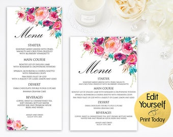 Menu Template, Watercolor Menu, Dinned Menu Template, Printable Menu Card, Wedding Menu Card, Editable Menu, Wedding Template, Menu Card