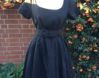 1980's Black Belted Dress by Monix