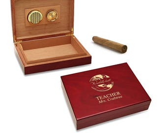 Custom Personalized World's Best Teacher Motif Cigar Humidor - Teacher's Personalized Wooden Cigar Humidor - Laser Engraved Cigar Humidor -