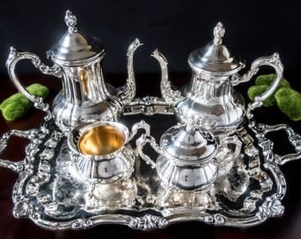 Vintage Silver Plate Coffee Tea Service Set With Tray Towle Silver Co Like New!