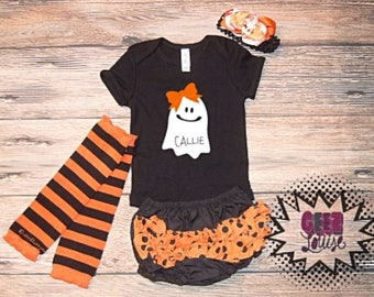 Halloween personalized outfit with matching bow, leggings, and bottoms pumpkin