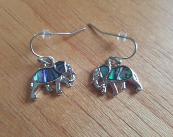 Elephant Earrings, Elephant Jewelry, Elephant Lover Gift, Paua Shell Earrings, Abalone Earrings, Gift For Elephant Lover, Gift For Her