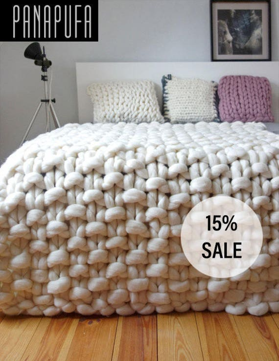 Knitting Pattern Chunky Wool Blanket : Chunky knit throw chunky wool blanket giant knit blanket