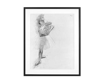 "Edgar Degas ""Dancer with a Fan"" 1880 Impressionist Pastel Drawing High Quality Print"