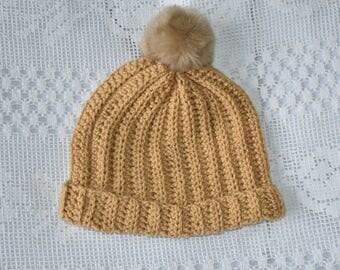 Camel pompom hat
