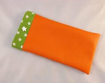Orange faux glasses case