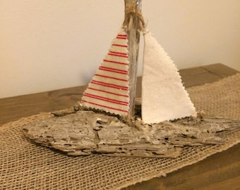 Driftwood Sailboat, Handmade Driftwood Sailboat,Coastal Home Decor, Nautical Kids Room, Red Sailboat Decor,Sailboat Theme Decor