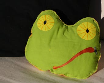 Cuddly cushion soft - frog - OOAK