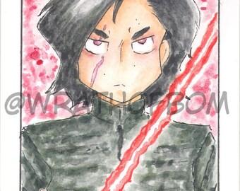 Star Wars: The Last Jedi Kylo Ren Fan Art Sketch Card V2