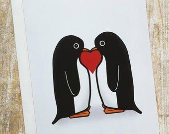 Together Forever - Penguin Love -Valentine - Greeting Card- Love - Bird - Sweet