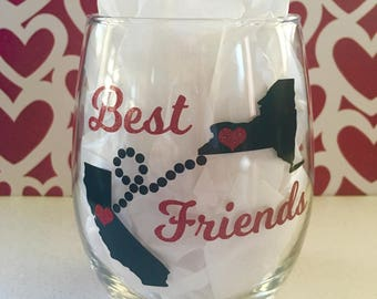 Long Distance Friendship Wine Glass, State To State Friendship Wine Glass, Long Distance Best Friends Wine Glass, Best Friend Gift