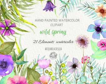 Spring Clipart - Watercolour Flower Clipart - Hand Painted flowers, Purple Flowers, | Watercolor Clipart, hand painted  leaves.