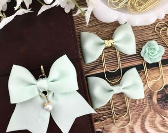 Mint Ribbon Bow Planner Travelers Notebook Charm
