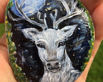 White Stag, King of the Forest, Mystic, Animal Totem, Pebble Art, Home Decor, Paperweight, Unique Gift for HIm, Gift for her, Christmas gift
