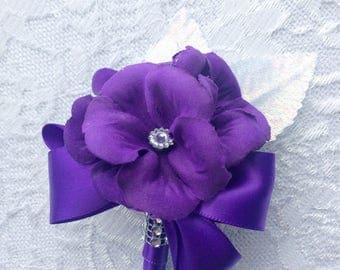Purple Corsage, Plum Corsage, Violet Corsage, Lavender Corsage, Purple Flower Corsage, Lilac Corsage, Purple Corsage Pin, Hydrangea Corsage