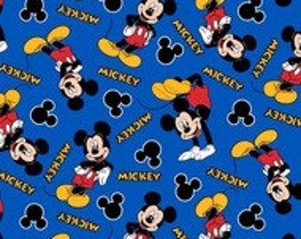 """Mickey Mouse with words on blue by Springs Creative, By the Half Yard, 43"""" wide, 100% cotton, disney fabric, mickey fabric, cartoon fabric"""