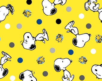 "Snoopy and Woodstock Polka Dot Toss for Springs Creative, 43-44"" wide, poly cotton - peanuts fabric - by the half yard - cartoon fabric"