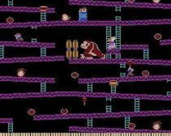 "Donkey Kong fabric for Springs Creative, by the half yard, 43"" wide, 100% cotton, nintendo fabric, video game fabric, jumpman fabric"