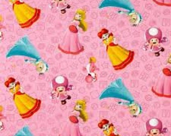 """Mario girl character stripe fabric for Springs Creative, by the half yard, 44"""" wide, 100% cotton, mario fabric, licensed fabric"""
