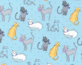"""NOvelty Cats on blue fabric, By the Half Yard, 44"""" wide, 100% cotton"""