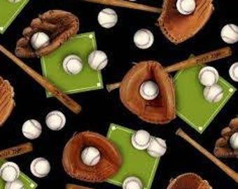"Novelty Baseball gloves, bats and bases by Elizabeth Studios, 43-44"" wide, 100% cotton"