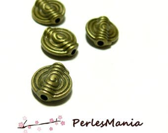 40 spacer round spiral H025 11mm BRONZE beads, DIY