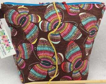 Knitting Bag, Yarn Pull Through Opening, Wip Bag, Wedge Bag, Knitting Project Bag