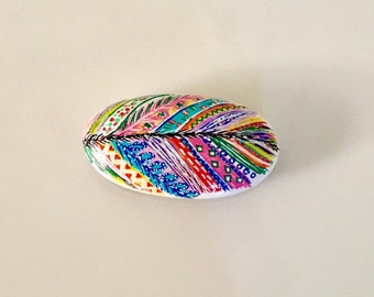 Hand painted river rock