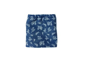 Pencil Skirt, Mini Skirt, Denim, Floral, Blue, White, Fits dolls such as AG, Wellie Wishers, 14 inch Doll Clothes, 14.5