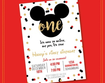 Mickey Mouse Invitation - Gold Glitter - Mickey Mouse Clubhouse Invitation - Mickey Mouse Invitation - Mickey Invitation - Printable
